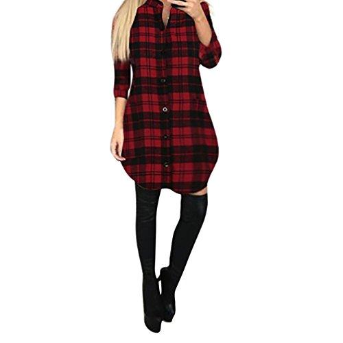 Orangeskycn Womens Ladies Mini Dress Plaid Lattice Dress Outwear Coat Blouse (Red, S) - Sonoma Cognac