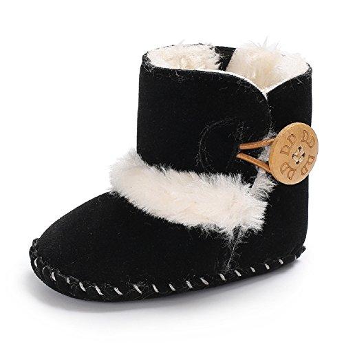 Meeshine Winter Warm Baby Boots Premium Soft Sole Prewalker Newborn Infant Boy Girl Crib Shoes Snow Boots(Medium / 6-12 Months,Black 01) ()