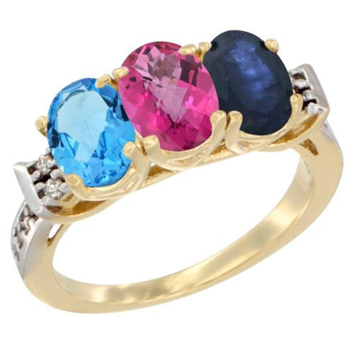 10K Yellow Gold Natural Swiss Blue Topaz, Pink Topaz & Blue Sapphire Ring 3-Stone Oval 7x5 mm Diamond Accent, size 6.5