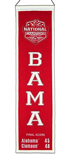 Winning Streak Alabama Crimson Tide 2016 Football National Champions Wool Heritage Banner 8x32