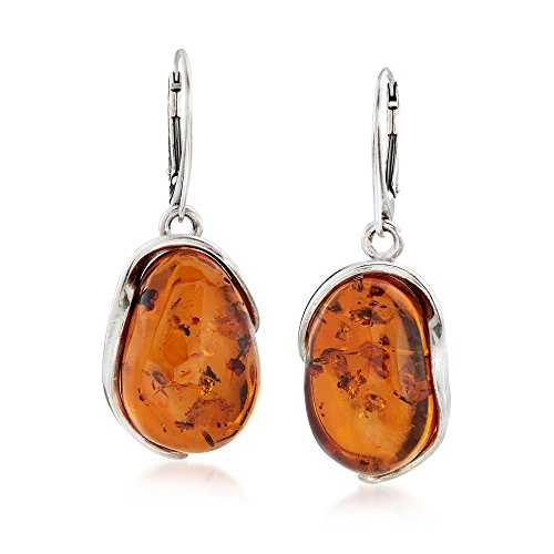 Ross-Simons Oval Amber Drop Earrings in Sterling Silver (Sterling Silver Amber Cabochon Earrings)