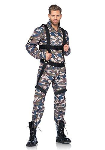 Adult Military Costumes (Leg Avenue Men's 2 Piece Paratrooper Costume, Camo, Medium)