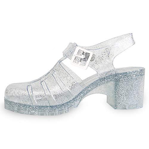 TravelNut Best Strappy Mid Platform Lattice Strappy Jelly Heel Sandal Shoe for Sale Women Teen Girls (Clear Size -