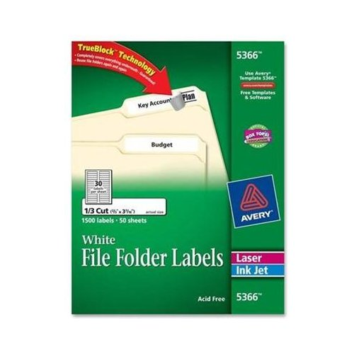 Avery 5366 Filing Label - 0.66 Width x 3.43 0.33 Length - 1500 / Box - Rectangle - 30/Sheet - Laser Inkjet - White - NEW - Retail - 5366