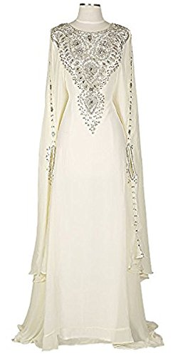 Kaftan for Women-Long Sleeve Maxi Dress, Gown Formal Lounge Wear (Ivory) (Kaftan Long Sleeve)