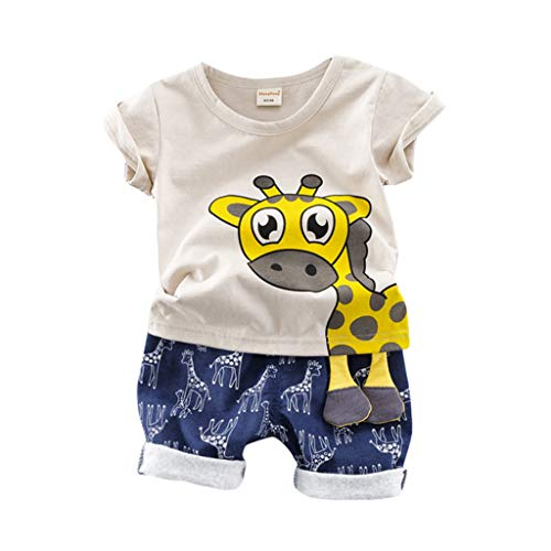Luonita Toddler Baby Kids Boys Giraffe Print Tops T-Shirt Blouse Tee Shorts Pants Casual Cute Lovely Summer Clothes Outfits Set Suits for 6M-3Y