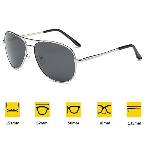 hibote Homme Eyewear Femme Polaris¨¦ Lunettes de soleil Driving Glasses UV400 Argent Cadre/Gris