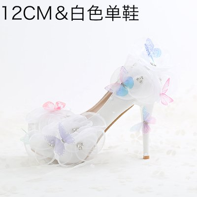 Higher Prom Evening Pointed 5 Female White Bride Shoes Rhinestone Wristband A Waterproof 12Cm3 Sandals Heels VIVIOO High Heeled Flower Butterfly Wedding dwIvYdq