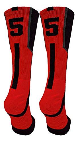 (TCK Player Id Black/Red Number Crew Socks (#55, Small))
