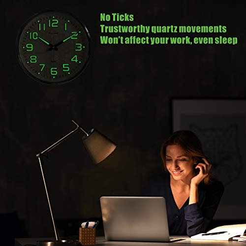 Plumeet Night Light Wall Clocks - 13 Inches Clock with Silent Non-Ticking Glowing Function - Good for Home Kitchen… 4