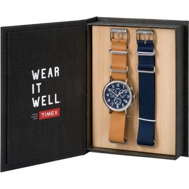 Timex-TWG012800-Mens-Weekender-Tan-Leather-and-Spare-Blue-Nylon-Chronograph-Watch-Gift-Set