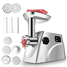 Electric Meat Grinder, Stainless Steel Meat Mincer Sausage Stuffer, Heavy Duty Food Processing Machine with 3 Cutting Plates, Sausage Making Kit, Blade & Kubbe Attachment, CE Approved