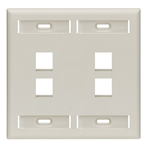 (Leviton 42080-4TP 4-Port Dual Gang QuickPort Wallplate with ID Windows, Light Almond)