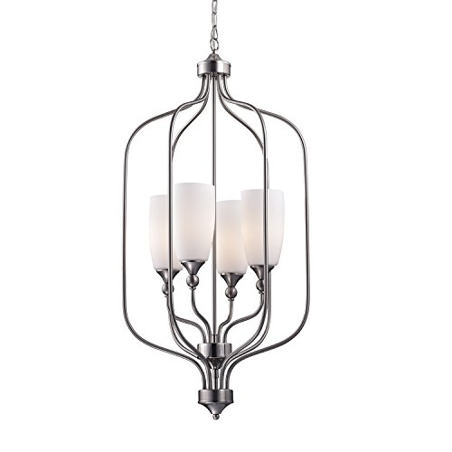 (Edvivi 4-Light Brushed Nickel Cage Chandelier with Etched White Glass Shades | Coastal Lighting)