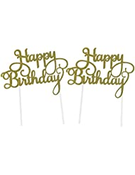 SUNBEAUTY Pack of 2 Gold Glitter Happy Birthday Cake Topper Decoration (Gold)