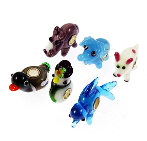 Elephant Glass Charm (Set of 6 Bundle 3D Animal Fish Elephant Dog Rhinoceros Duck Snowman Murano Glass Lampwork Bead Silver Single Core Charm Set Fits European Style Bracelets (DWbead-BB01))
