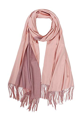 (Jaweaver Two Tone Cashmere Scarf For Women Men, Large Warm Pashmina Shawl Wrap Fall Winter Stole Reversible Scarves w/Gift Box (Shell Pink))