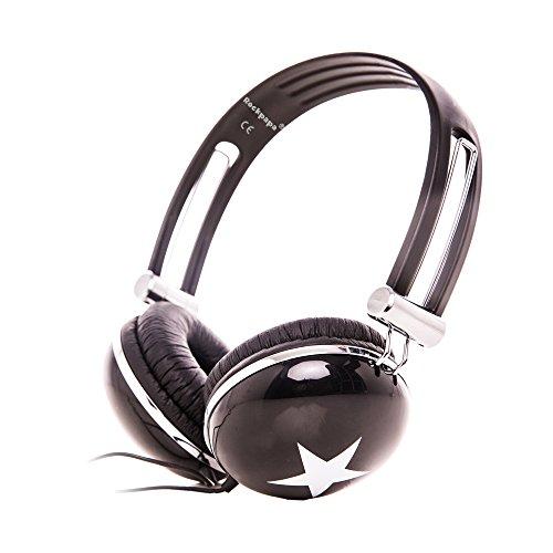 Rockpapa Star On Ear Headphones Foldable, Adjustable Headband for Kids Childrens Boys Girls Adults, iPhone iPod iPad Smartphones Tablets Computer DVD Black