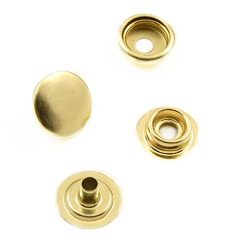 Trimming Shop Pack Of 10 15mm Press Studs - 4-Piece Snap Fasteners Set - Manual Hand Press Or Tool Attachment - For Repairing Clothing, Handbags, Car Hoods, Boat Covers, And Straps Gold