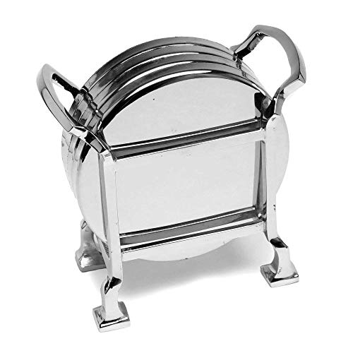 Elegant Coasters - Stainless Steel Holder with Coaster Set - Bar Drink Cup Holders (Pack of 4) by Le'raze