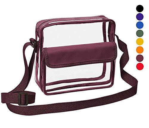 Clear Crossbody Messenger Shoulder Bag with Adjustable Strap NFL Stadium Approved Transparent Purse (Burgundy)