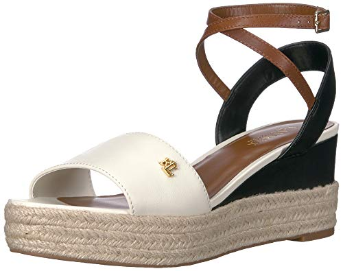 Lauren Ralph Lauren Women's Delores Sandal Vanilla/Black/DEEP Saddle TAN 7 B US ()