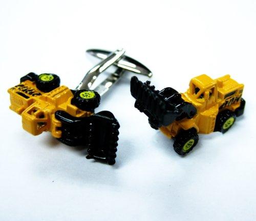 Tailor B 3D Bulldozer Cufflinks Tractor Digger Cuff Links - Tractor Tailor