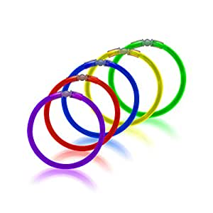"Windy City Novelties Premium 8"" Neon Glow in the dark Bracelet Necklace Glow Sticks - (Tube of 50) Assorted Colors"