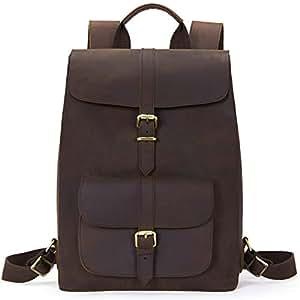 BOSTANTEN Leather Backpack 15.6 inch Laptop Backpack Vintage Travel Office Bag Large Capacity School Shoulder Bag Brown Brown Large (L)12.79 x (H)16.93 x (W)6.3 inches