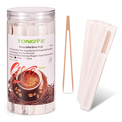 Wood Coffee Stirrers Individually Wrapped with Bamboo Sugar