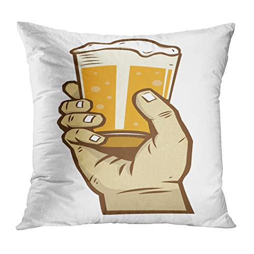 Suike Throw Pillow Cover Hand Hold Glass Beer Hidden Zipper Home Sofa Decorative Cushion Case 18x18 Inch Square Printed Pillowcase