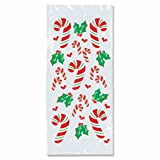 Beistle 25-Pack Candy Cane and Holly Cello Bags, 4-Inch by 9-Inch by 2-Inch