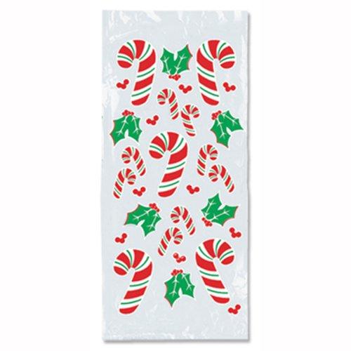 Candy Cane & Holly Cello Bags   - Cellophane Bags Christmas