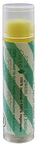 100% Pure Organic Mint Lip Balm Stick, 0.15 Ounce