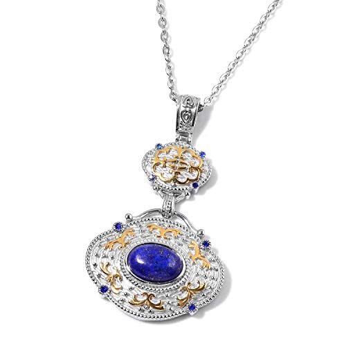 Shop LC Delivering Joy Lapis Lazuli Crystal ION Plated Yellow Gold Chain Pendant Necklace for Women Jewelry Gift 20