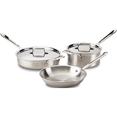 All-Clad BD005705 D5 Brushed 18/10 Stainless Steel 5-Ply Bonded Dishwasher Safe Cookware Set, 5-Piece, Silver