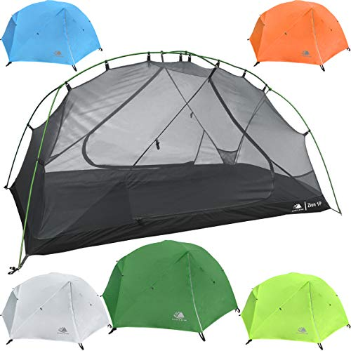 Hyke & Byke 1 Person Backpacking Tent with Footprint - Lightweight Zion One Man 3 Season Ultralight, Waterproof, Ultra Compact 1p Freestanding Backpack Tents for Camping and Hiking (Forest Green)