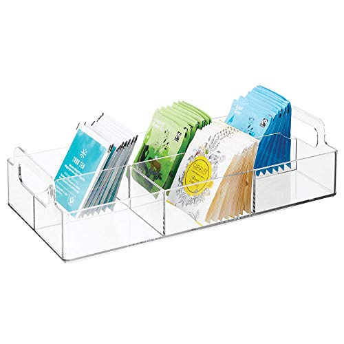 (mDesign Compact Plastic Tea Storage Organizer Caddy Tote Bin - 6 Divided Sections, Built-in Handles - Holder for Tea Bags, Packets, Sweeteners and Small Packets, BPA free - Clear)