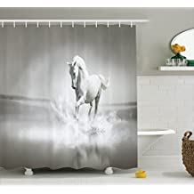 Ambesonne Animal Decor Shower Curtain Set, Horse Running Through Water Dramatic Symbol for The Motivation of Life Wild Artwork, Bathroom Accessories, 69W X 70L inches, Sage Green