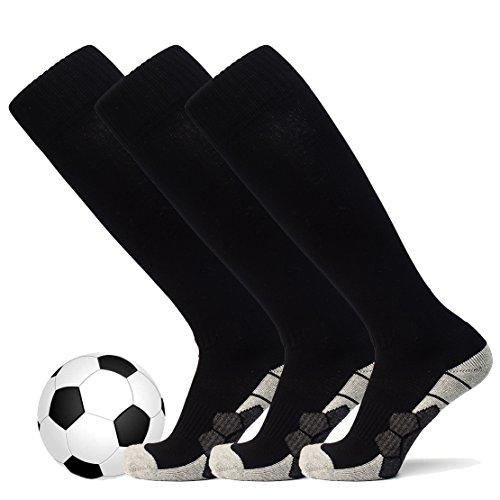 welltree Unisex Knee High Soccer & Football Cushion Socks(Children/Youth/Adult) 3 Pack Black S