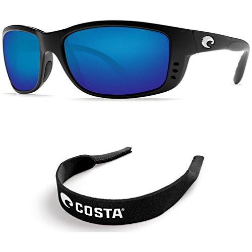 Costa Del Mar Zane Black 400G Blue Mirror Glass With Free Black Retainer