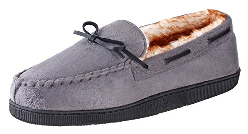 (Urban Fox - Franklin Moccassin Slippers Mens | Micro-Suede | Rubber Sole | Faux Fur Lining | Comfortable Indoor and Outdoor Slippers | Slippers for Men | Slip-On Slippers for Men | Grey - US 8)