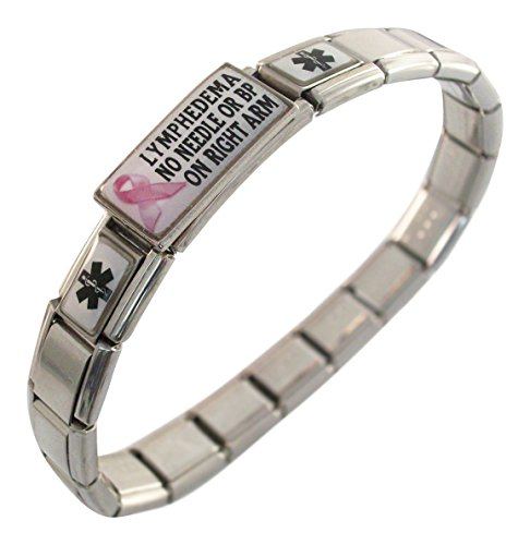 - Lymphedema No Needle or BP on RIGHT Arm Medical Italian Charm Bracelet