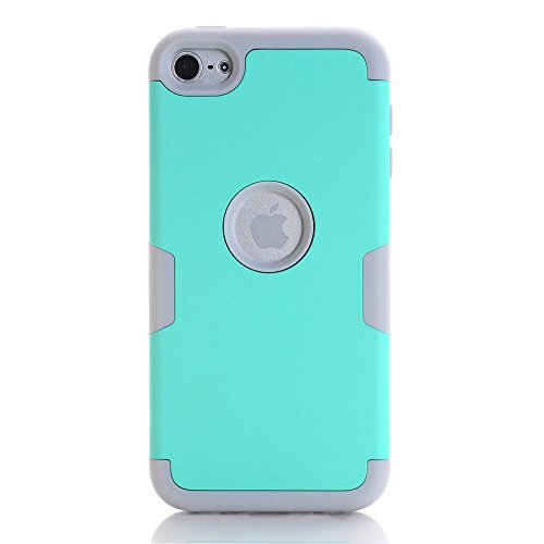 Pod Touch 5 Case, KAMII 3in1 Hybrid Three Layer Shockproof Full-Body Protective Drop Resistance Silicon Hard Case Cover for Apple iPod Touch 5 6th Generation (Aqua+Gray) ()