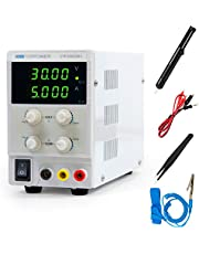 DC Power Supply, 30V 5A, Lab Bench Power Supply, 4 Read Out, Variable and Adjustable, Switching Style, 110/220V with Alligator Leads Desoldering Pumps Tweezers Electrostatic Bracelet