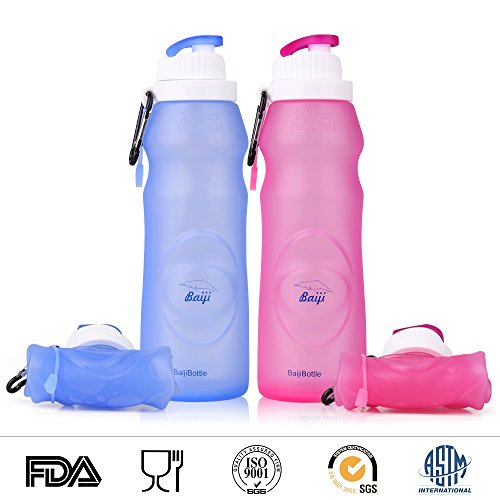 Collapsible Silicone Water Bottles - Sports Camping Canteen 20 Oz. - Easy to Clean and Store