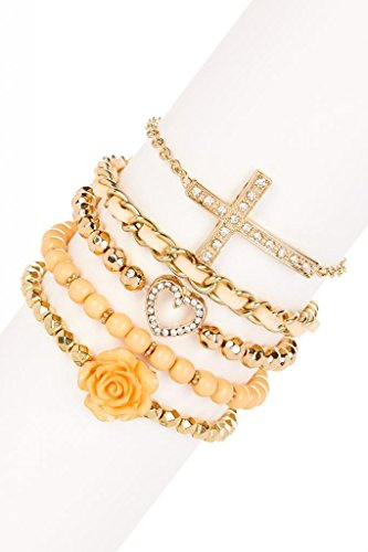 [Lux Accessories Pave Heart Yellow Enamel Rose Pave Cross Fabric Chain Arm Candy Bracelet Set] (Arm Candy Costume)