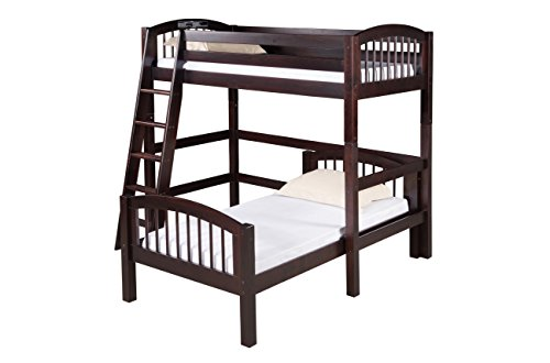 Camaflexi Arch Spindle Style Solid Wood L-Shaped Loft Bed, Twin-Over-Twin, Side Angled Ladder, Cappuccino (L-shaped Loft)