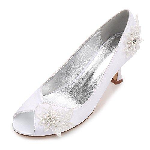 Blanc Talon Fleur Nuptiale Prom Chaussures Perle Femmes Mariage Haut SoiréE De Taille Plate Fleur YC Forme L Dames xwI1CfTpWq