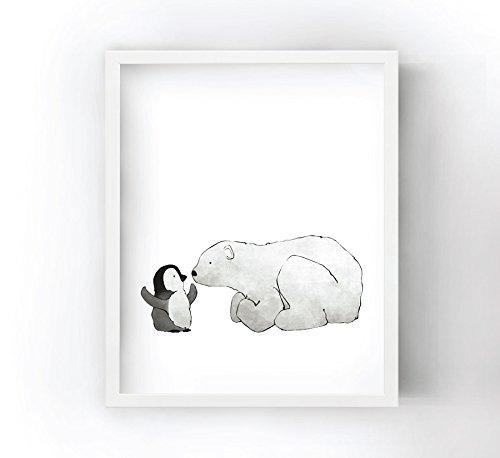 Penguin and Polar Bear Eskimo Kiss - Nursery Art Print for Kids (Polar Kiss)